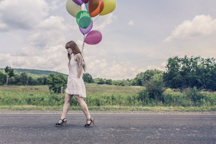 spacer z balonami