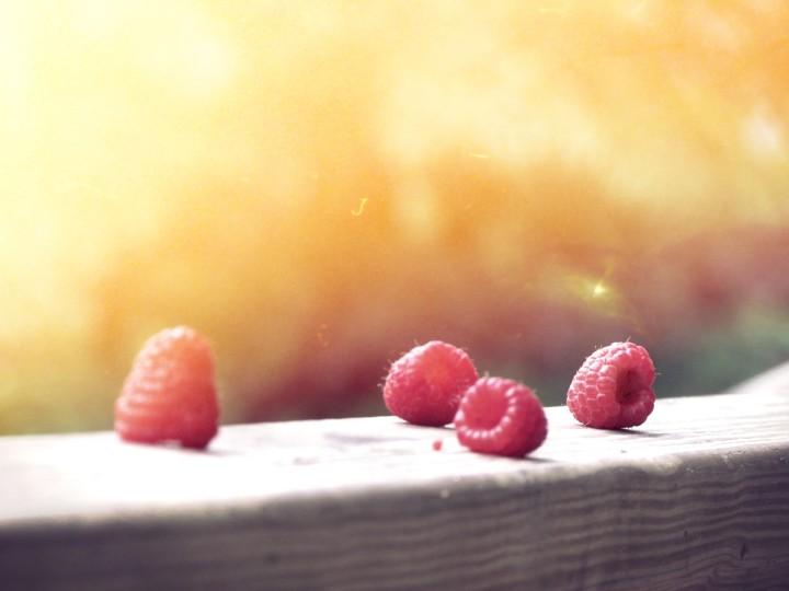 słodkie maliny w popołudniowym słońcu