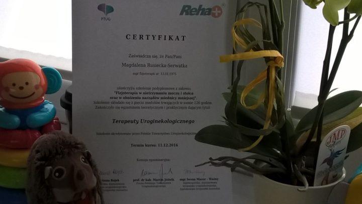 certyfikat dyplomowanego terapeuty urologicznego Magdalena Rusiecka-Serwatka