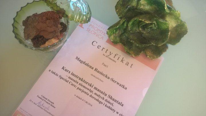 certyfikat ukończenia kursu instruktorskiego Masaż Shantala